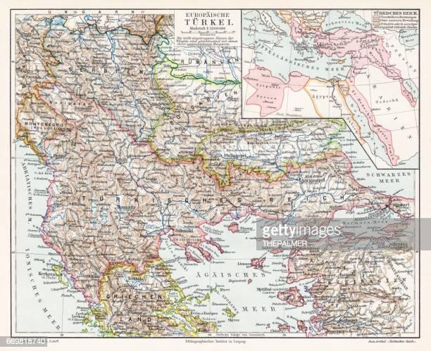turkey map 1895 - balkans stock illustrations, clip art, cartoons, & icons