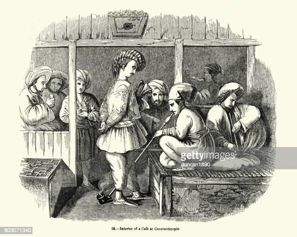 turkish coffee shop, constantinople, 19th century - hookah stock illustrations, clip art, cartoons, & icons