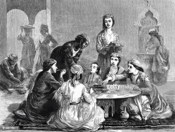 turkish family at dinner - 1877 stock illustrations, clip art, cartoons, & icons