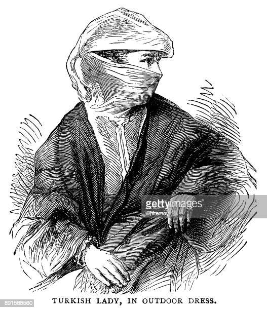 turkish lady in outdoor dress - ottoman empire stock illustrations
