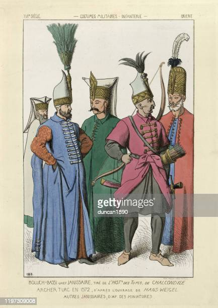 turkish ottoman janissary soldiers, 16th century - ottoman empire stock illustrations