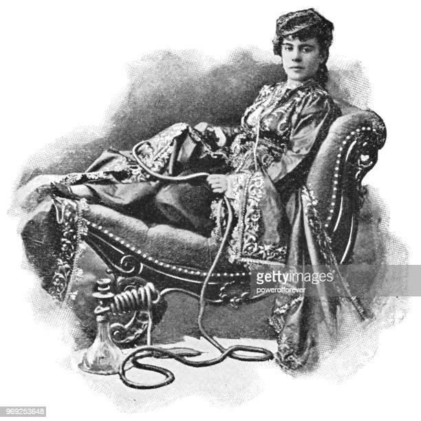 turkish woman in istanbul, turkey - ottoman empire - hookah stock illustrations, clip art, cartoons, & icons