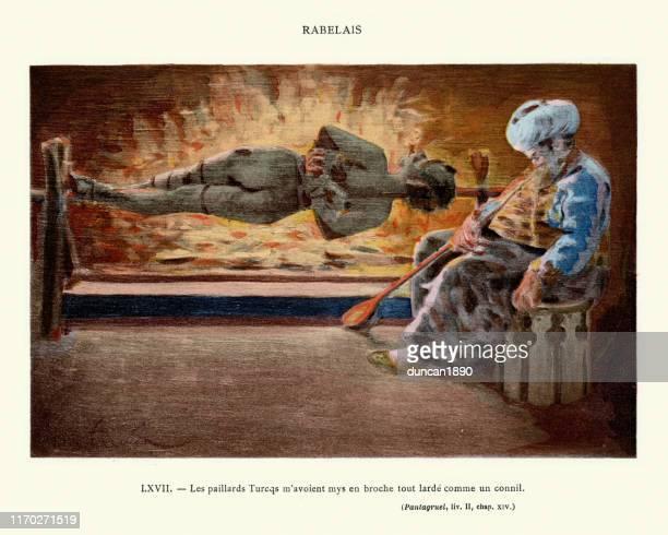 ilustrações de stock, clip art, desenhos animados e ícones de turks broached me upon a spit like a rabbit, rabelais - canibalismo