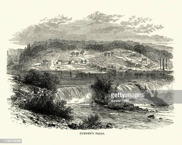 turners falls, massachusetts, 19th century - connecticut river stock illustrations, clip art, cartoons, & icons