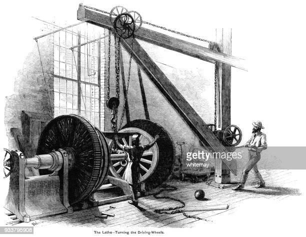 Turning locomotive driving wheels on a large lathe