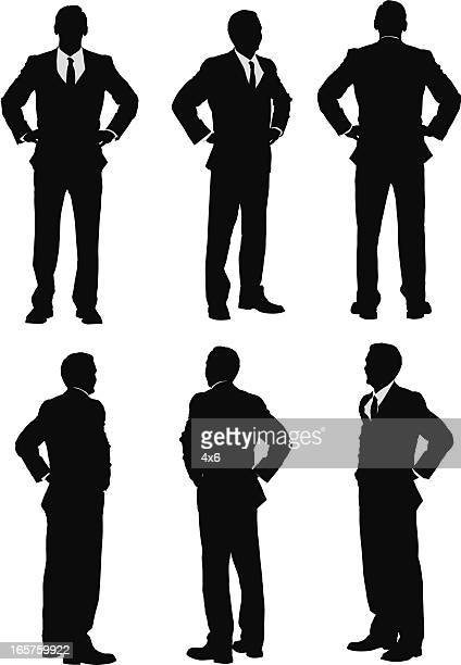 turning views of businessman - hand on hip stock illustrations, clip art, cartoons, & icons