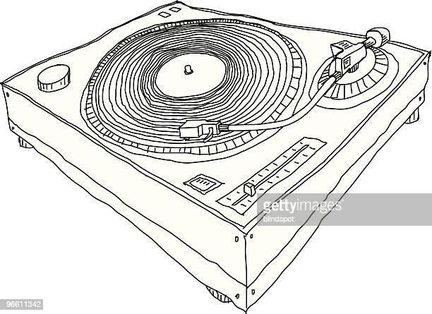 stockillustraties, clipart, cartoons en iconen met turntable - vinylplaat