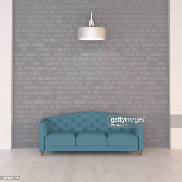 ilustrações de stock, clip art, desenhos animados e ícones de turquoise couch under wall lamp, 3d rendering - nicho