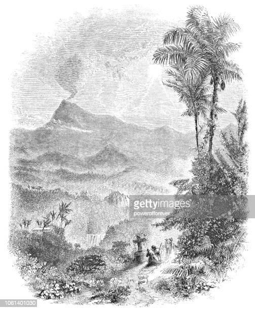 turrialba volcano in costa rica (19th century) - stratovolcano stock illustrations, clip art, cartoons, & icons