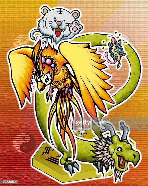 turtle, dragon, red chinese phoenix, and tiger, front view, side view, rear view - phoenix mythical bird stock illustrations, clip art, cartoons, & icons