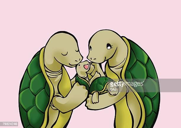 ilustrações, clipart, desenhos animados e ícones de turtles holding their babies, side view, pink background - organismo aquático