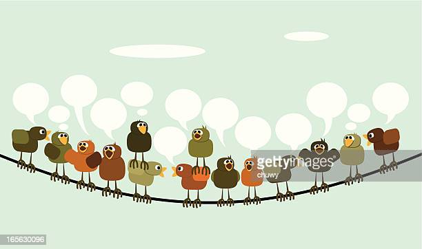 tweeting - telephone line stock illustrations, clip art, cartoons, & icons