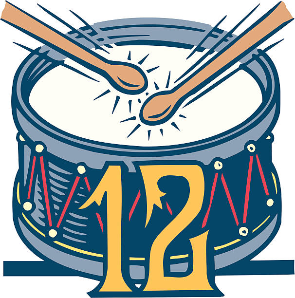 Twelfth day of Christmas, 12, drum and drumsticks, Color