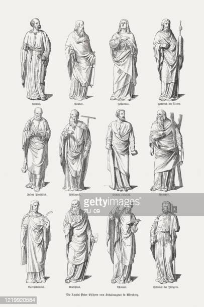 1893年、1893年に出版された12人の使徒、聖セバルドゥス記念碑、ニュルンベルク、木版画 - 使徒点のイラスト素材/クリップアート素材/マンガ素材/アイコン素材