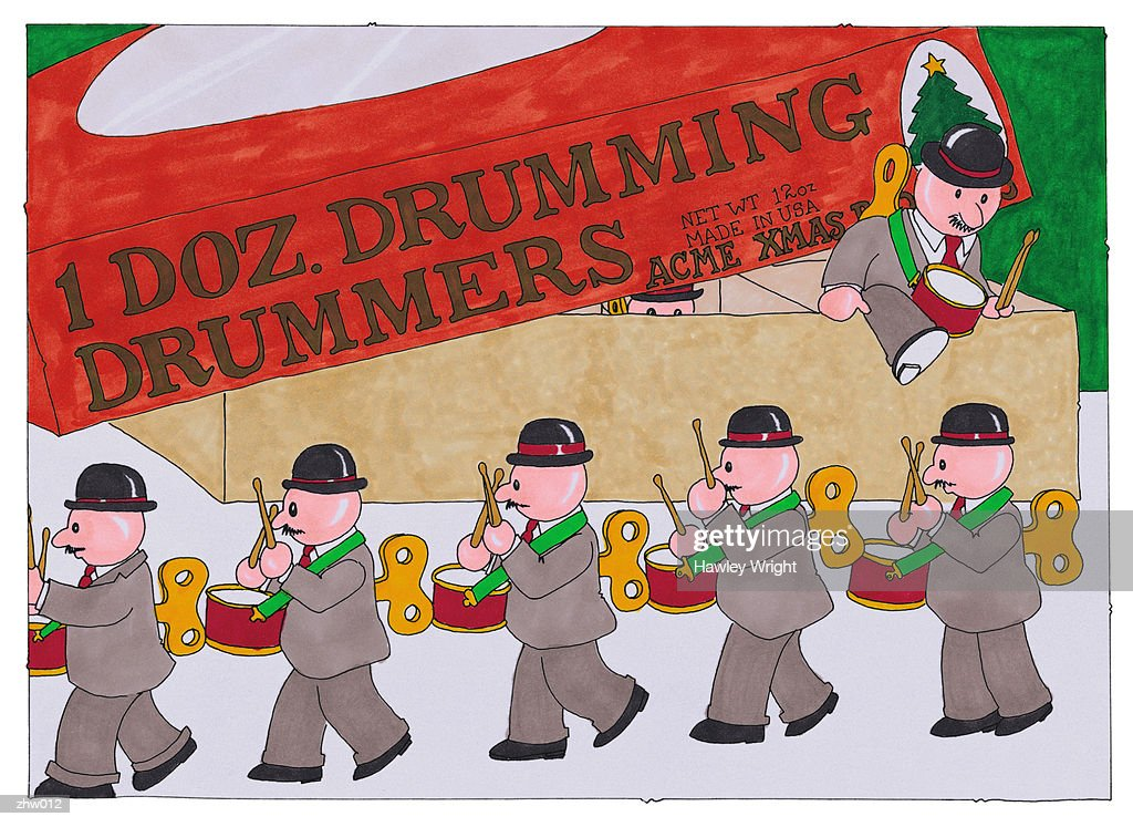 Twelve Drummers Drumming : Stock Illustration