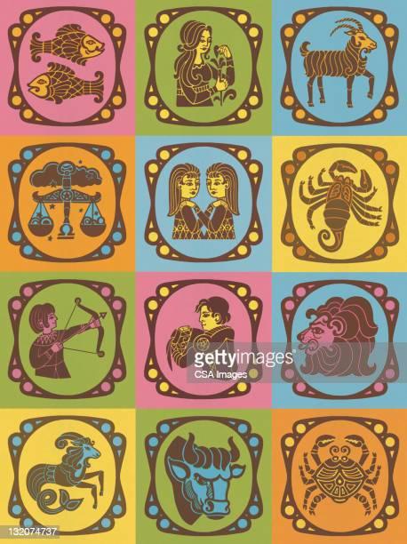 Twelve Zodiac Symbols