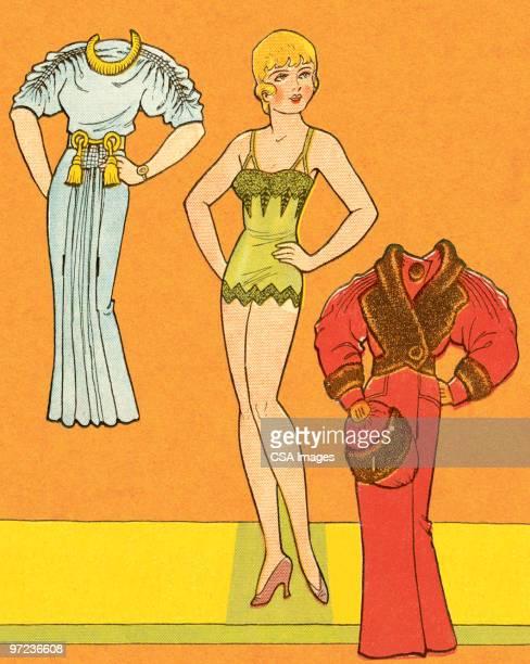 twenties-era woman paper doll - old fashioned stock illustrations