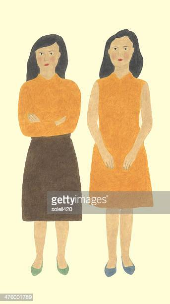 twin sisters - only women stock illustrations, clip art, cartoons, & icons