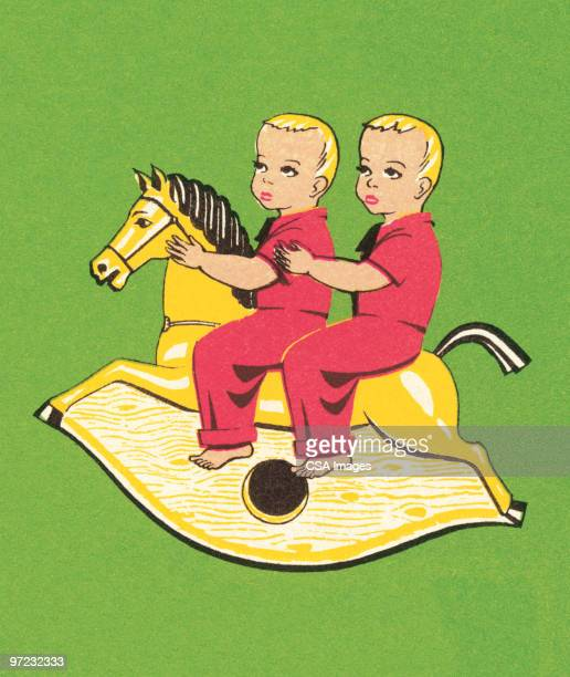 twins on a rocking horse - old fashioned stock illustrations