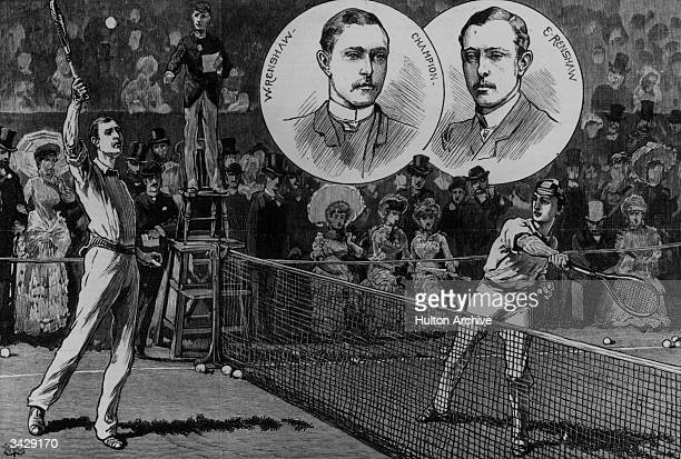 Twins Willie and Ernest Renshaw playing the final set in the Wimbledon Lawn Tennis Men's Singles Championships of 1882 Willie beat his brother in...