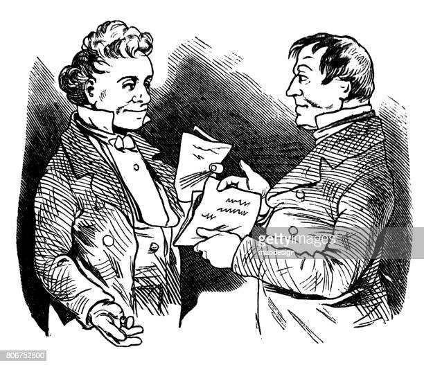 Two adults smartly dressed men exchanging documents after the successful finalization of business - Illustration 1867