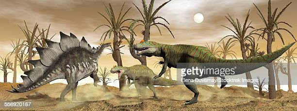 Two Allosaurus dinosaurs attack a lone Stegosaurus in the desert.