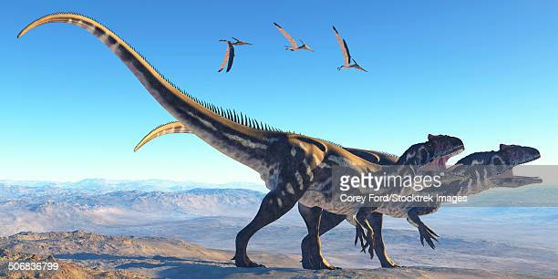 two allosaurus dinosaurs look for prey on a high mountain. - jurassic stock illustrations, clip art, cartoons, & icons