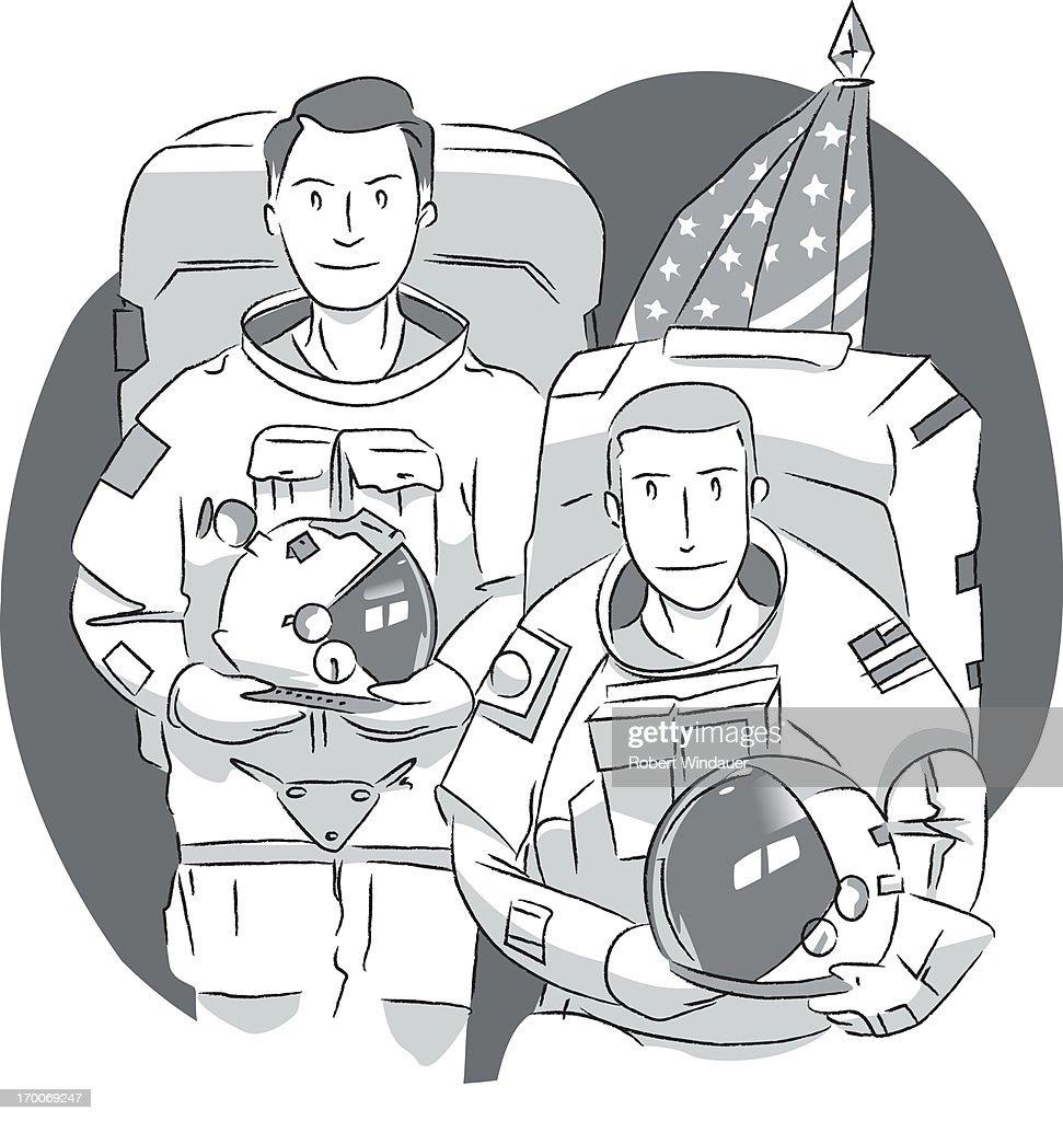 Two American astronauts : Stock Illustration