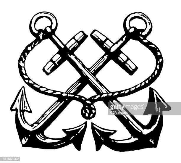 illustrations, cliparts, dessins animés et icônes de two anchors crossed - ancre