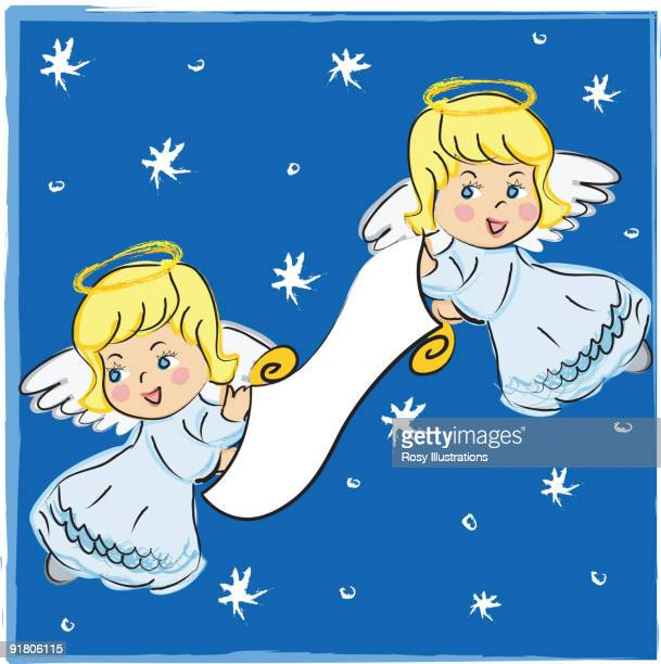 two angels holding a scroll in a snowy night sky - animal limb stock illustrations, clip art, cartoons, & icons