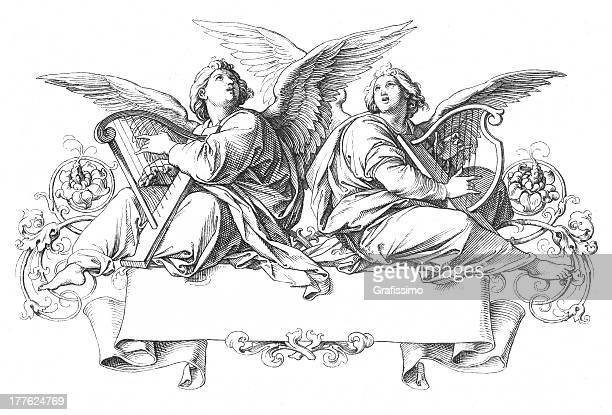two angels singing playing harp - biblical event stock illustrations