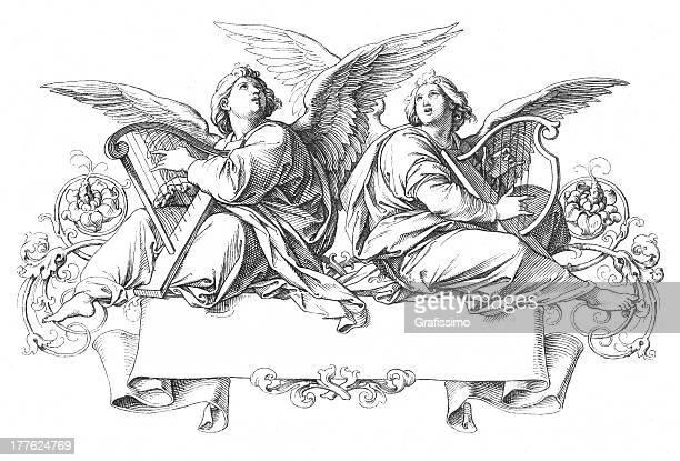 Deux anges chanter jouant Harpe
