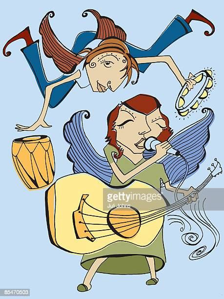 Two angels singing,playing guitar,drums and tambourine