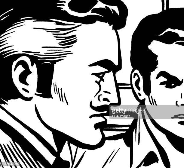 illustrations, cliparts, dessins animés et icônes de deux hommes en colère - moustache