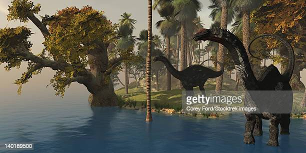Two Apatosaurus dinosaurs visit an island in prehistoric times.