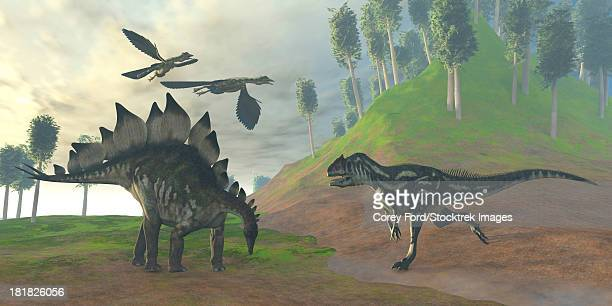two archaeopteryx birds call in alarm as an allosaurus attacks an unaware stegosaurus dinosaur. - thyreophora stock illustrations, clip art, cartoons, & icons
