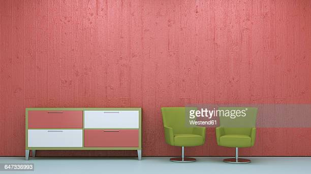 Two armchairs and a chest of drawers in front of concrete wall, 3D Rendering