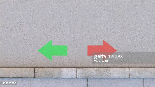 two arrows on the road, 3d rendering - road stock illustrations