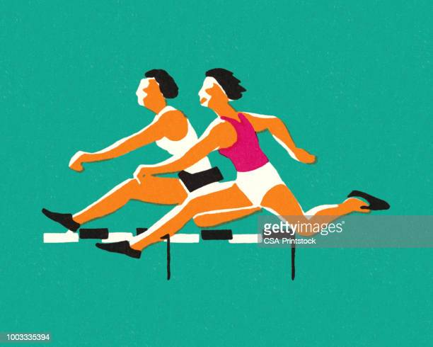 ilustrações de stock, clip art, desenhos animados e ícones de two athletes running hurdles - pista de atletismo