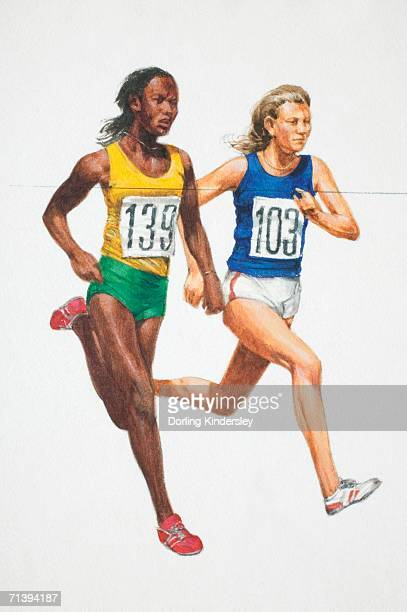 Two athletic women in vest and shorts running, side view.