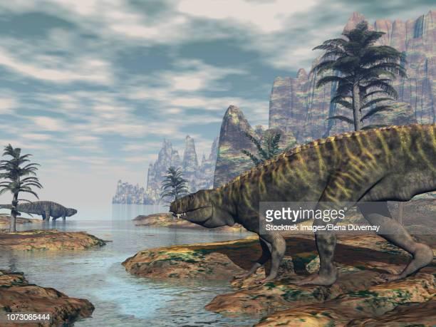 ilustraciones, imágenes clip art, dibujos animados e iconos de stock de two batrachotomus dinosaurs on the coastline. - triásico