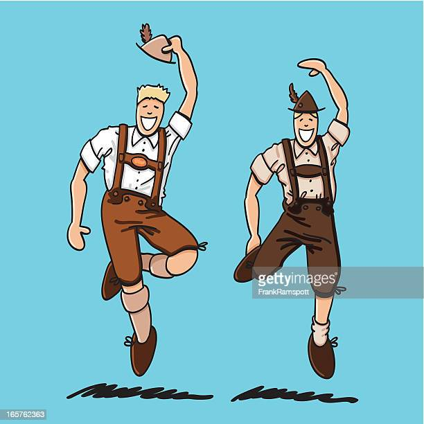 two bavarian lederhosen men - traditional clothing stock illustrations
