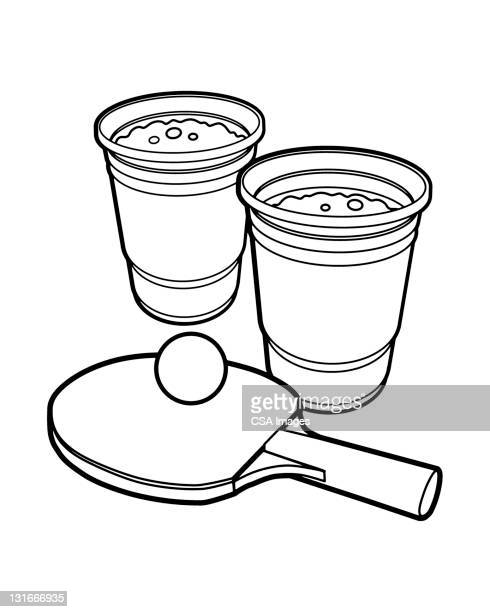 two beers and ping pong - recreational pursuit stock illustrations, clip art, cartoons, & icons