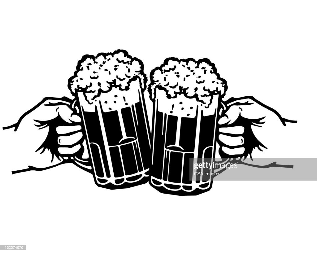 Two Beers Cheer Stock Illustration