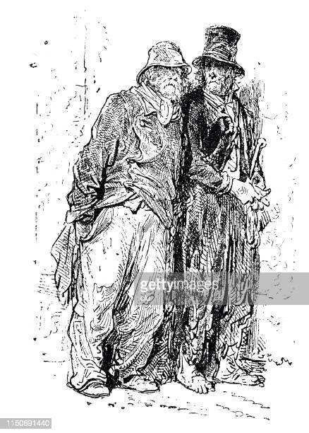 two beggars standing at the wall - cartoon hobo stock illustrations