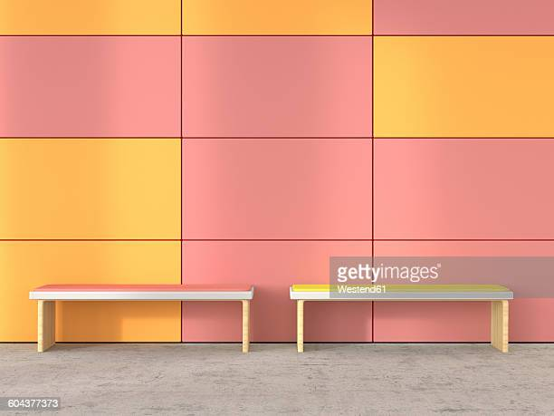 Two benches at waiting area, 3D Rendering