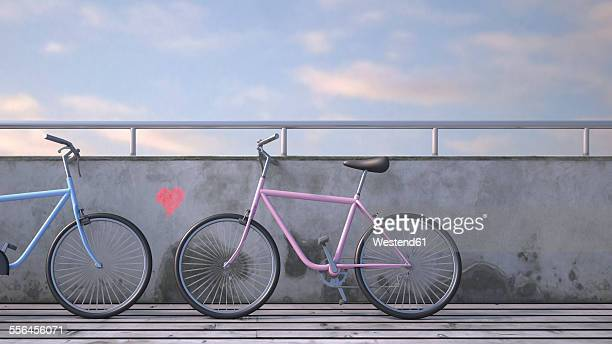 Two bicycles leaning against wall with painted heart, 3D rendering
