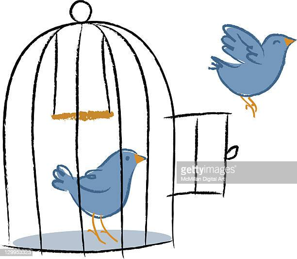 two birds, one bird flying out of birdcage - cage stock illustrations, clip art, cartoons, & icons
