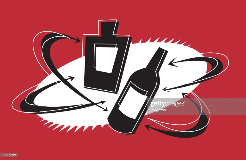 two bottles of alcohol : Illustration