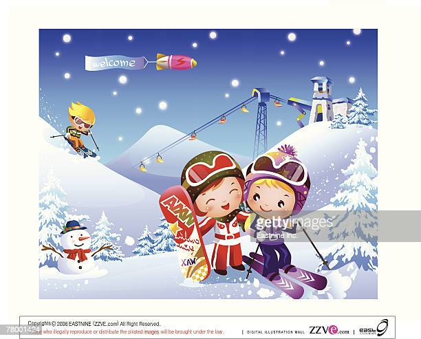 two boys and a girl skiing - ski goggles stock illustrations, clip art, cartoons, & icons